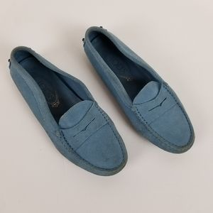 Tod's light blue suede loafers driving moccasin